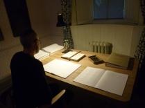 la réécriture d'un manuscrit original des Hauts de Hurlevent par les visiteurs du musée (l'original a été détruit)